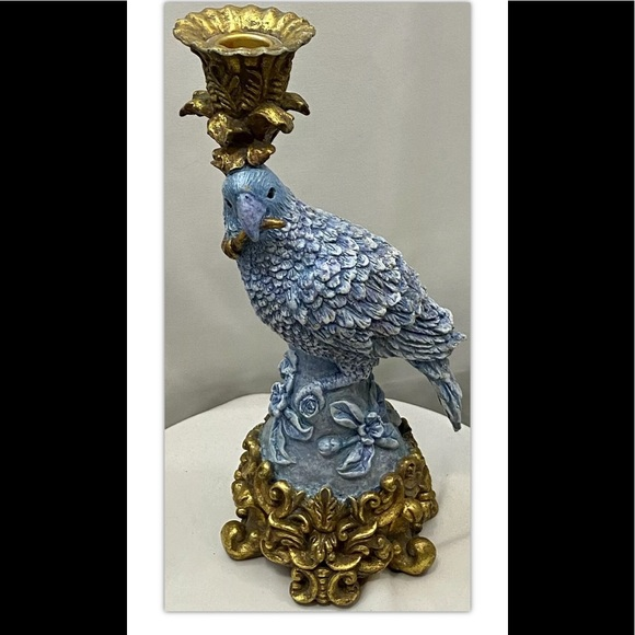 """Dick Hsia Resin Periwinkle Blue Gold Parrot 12"""""""